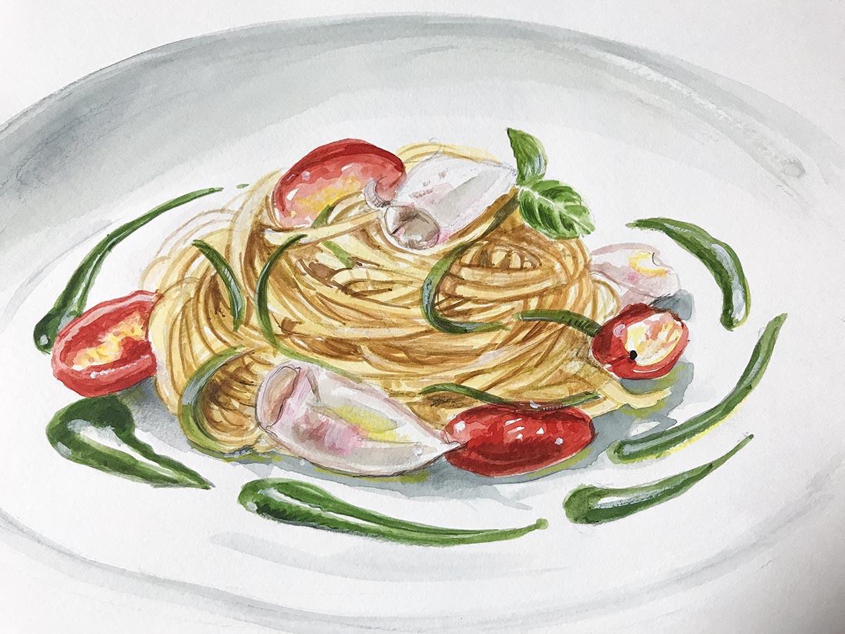 Spaghetti con granceola e salsa al basilico